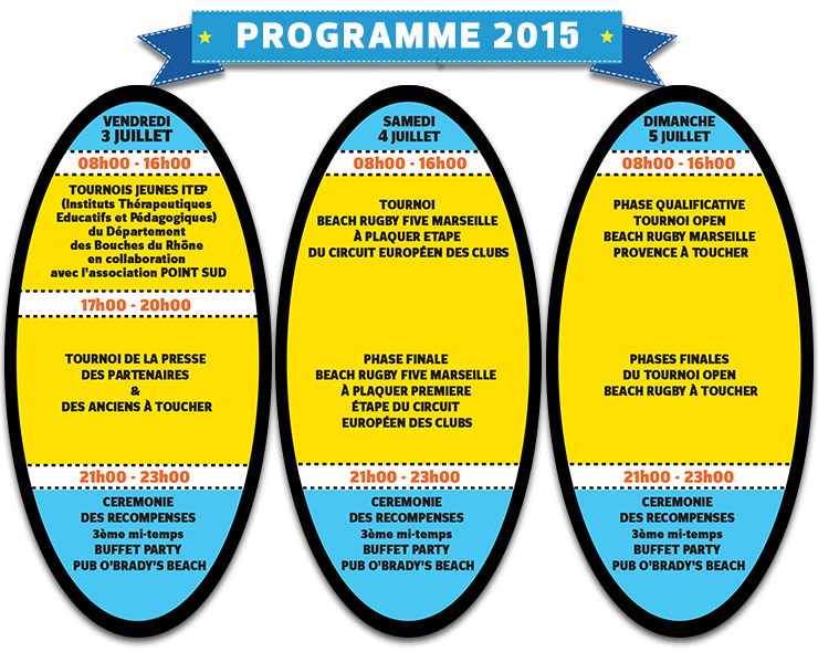 Programme 2015 du Beach Rugby Five de Marseille